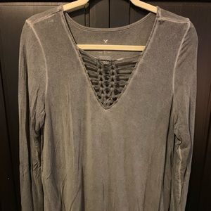 AEO long sleeve gray shirt